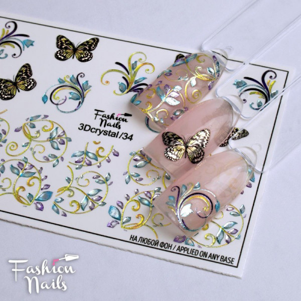 3D Crystal Slider Schmetterlinge Frühling nails