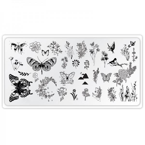 Stamping Schablone Schmetterling blumen