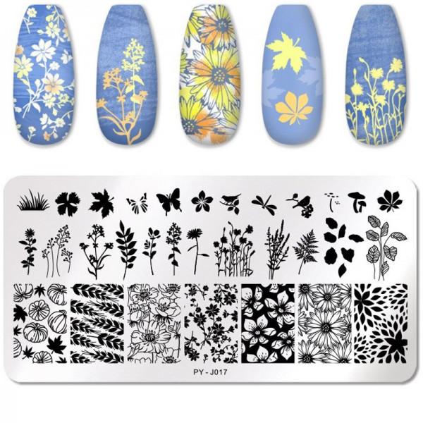 Stamping Schablone PY-J17 Blumen