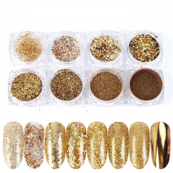 8er Holo Glitter Mix Gold Weihnachten