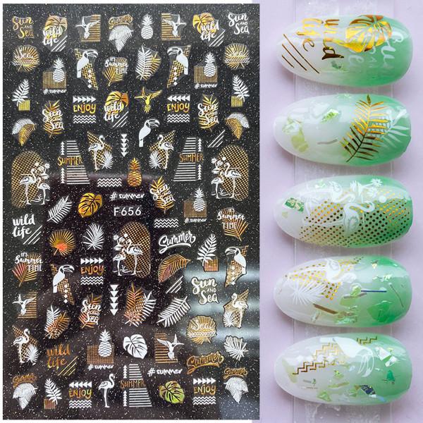 Nail Sticker Summer Nailart gold weiss
