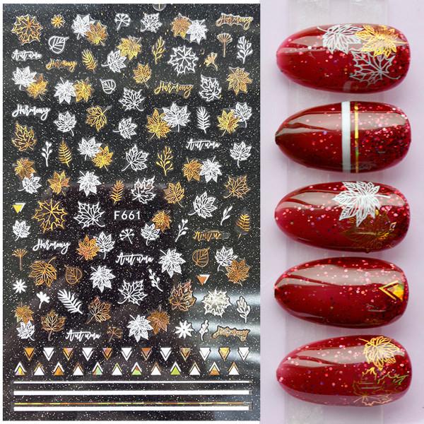 Nail Sticker Blätter Nailart Gold Herbst