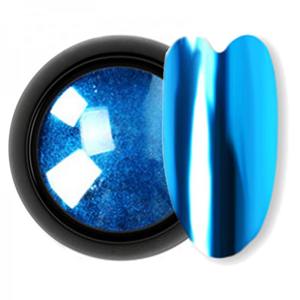 Chrome Shine Pigment nailart blau