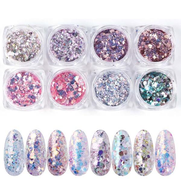 8er Glitter Mix Rosa Glitzer Nailart