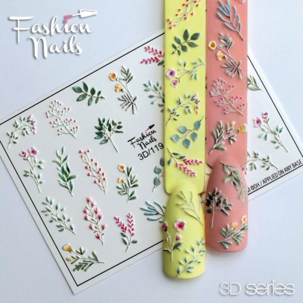 3D Nail Slider 119 Fashion Nails Blumen Frühling