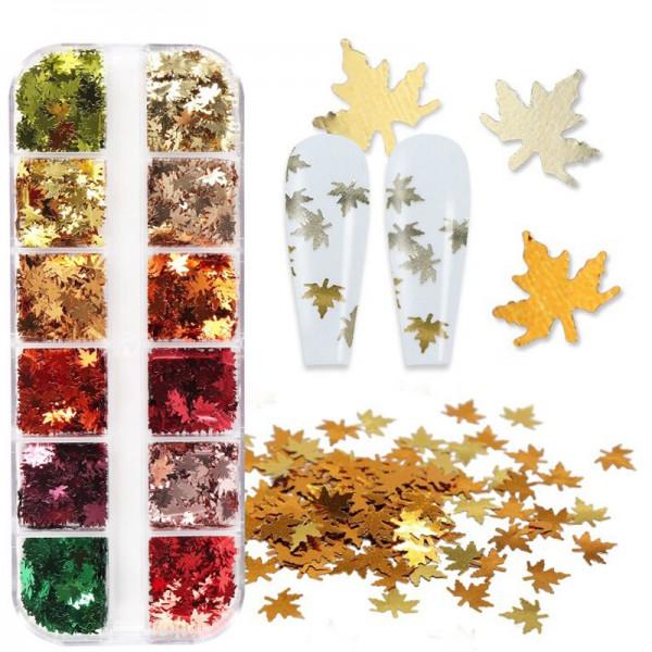 Nailart Gold Herbst Einleger Glitter