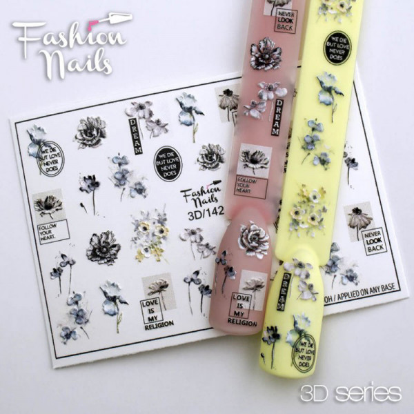 3D Nail Slider 142 Blumen