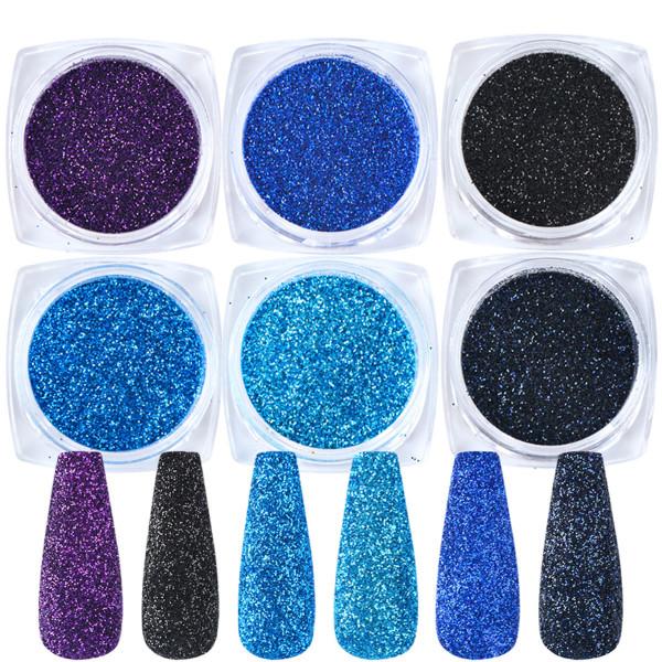 6 Glitter Mix Set für Nailart und Modellage blau