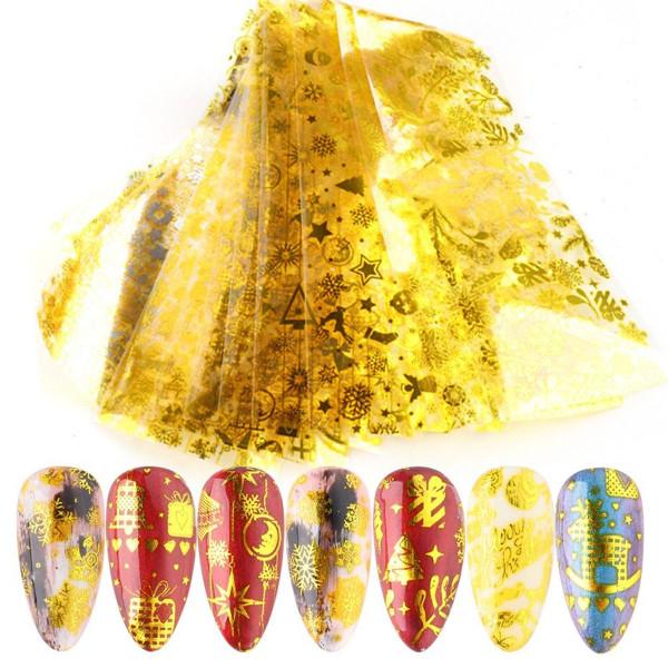 10 Transferfolien Xmas Gold Nailart Weihnachten