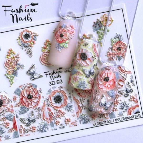 3D Nail Slider 93 Blumen Schmetterling
