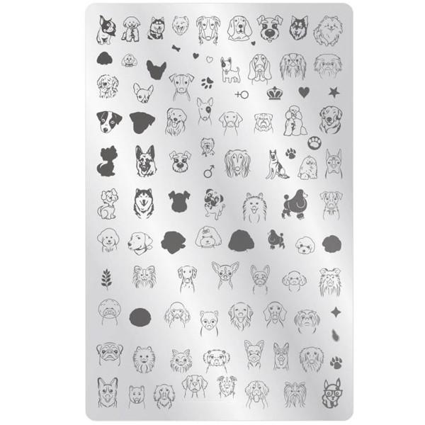 XXL Stamping Schablone Hunde Motive für Naildesign