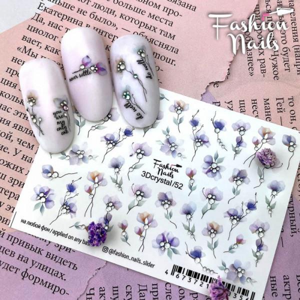 Blumen 3D Crystal Nail Slider nailart