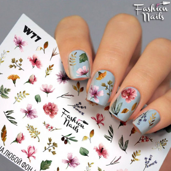 Blumen Slider Fashion Nails Sommer Bunt Design