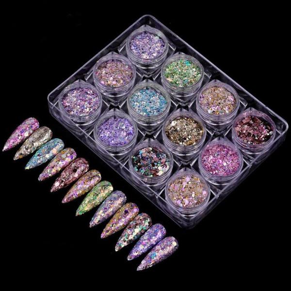 12 Glam Glitter Mix Nailart