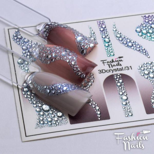3D Crystal Nail Slider Bubble Design Fashion Nails