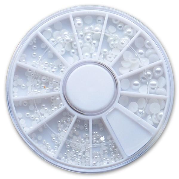 Halbperlen Rondell Weiß