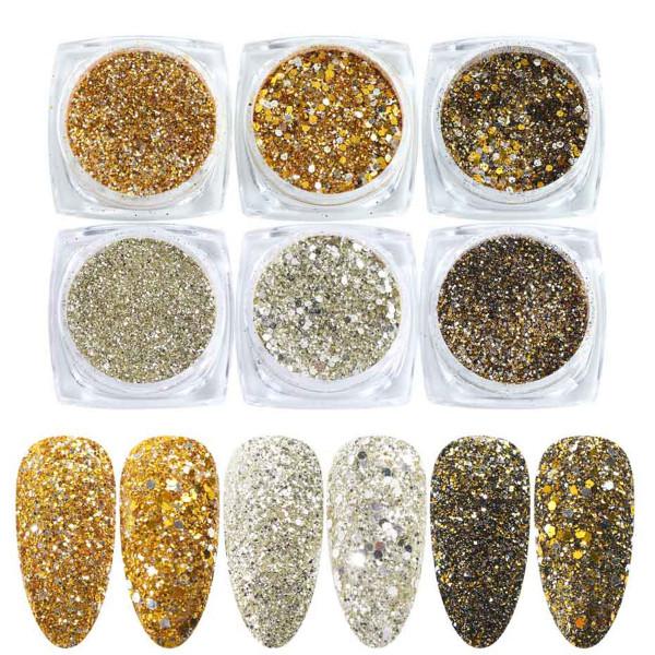 6 Glitter Mix Set für Nailart und Modellage Gold